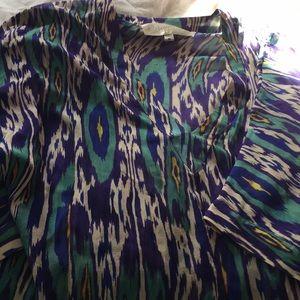 Rory Beca multi sheer 3/4 sleeve blouse